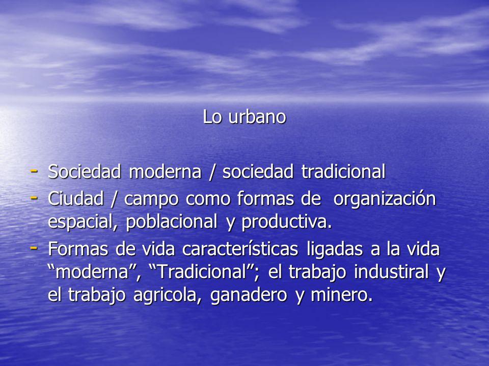 Lo urbano - Sociedad moderna / sociedad tradicional - Ciudad / campo como formas de organización espacial, poblacional y productiva. - Formas de vida