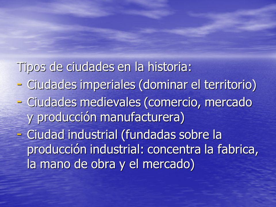 Tipos de ciudades en la historia: - Ciudades imperiales (dominar el territorio) - Ciudades medievales (comercio, mercado y producción manufacturera) -