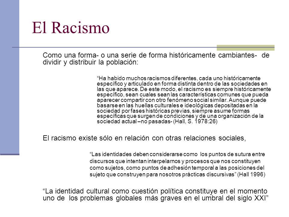 El Racismo Como una forma- o una serie de forma históricamente cambiantes- de dividir y distribuir la población: Ha habido muchos racismos diferentes, cada uno históricamente específico y articulado en forma distinta dentro de las sociedades en las que aparece.