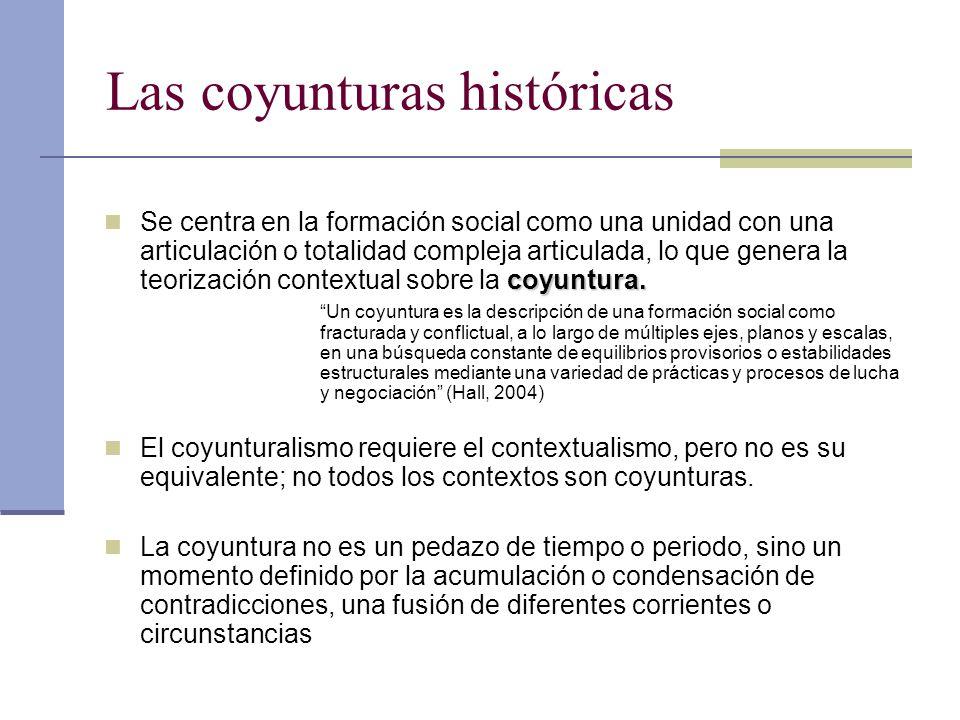 Las coyunturas históricas coyuntura. Se centra en la formación social como una unidad con una articulación o totalidad compleja articulada, lo que gen