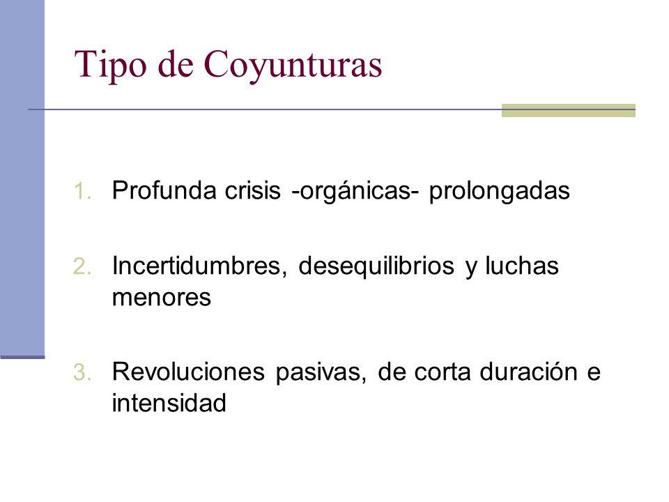 Tipo de Coyunturas 1. Profunda crisis -orgánicas- prolongadas 2. Incertidumbres, desequilibrios y luchas menores 3. Revoluciones pasivas, de corta dur