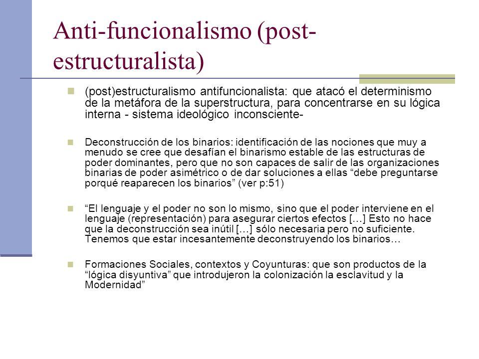 Anti-funcionalismo (post- estructuralista) (post)estructuralismo antifuncionalista: que atacó el determinismo de la metáfora de la superstructura, par