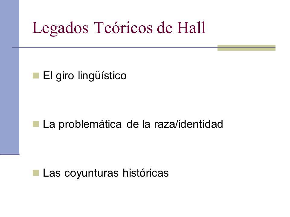 Legados Teóricos de Hall El giro lingüístico La problemática de la raza/identidad Las coyunturas históricas