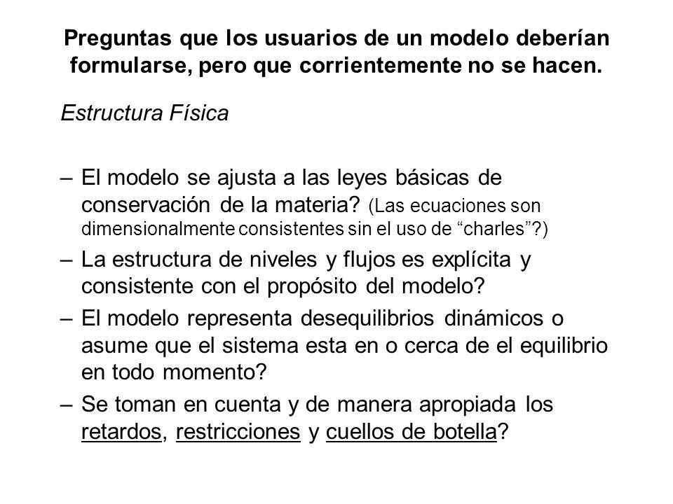 Preguntas que los usuarios de un modelo deberían formularse, pero que corrientemente no se hacen. Estructura Física –El modelo se ajusta a las leyes b