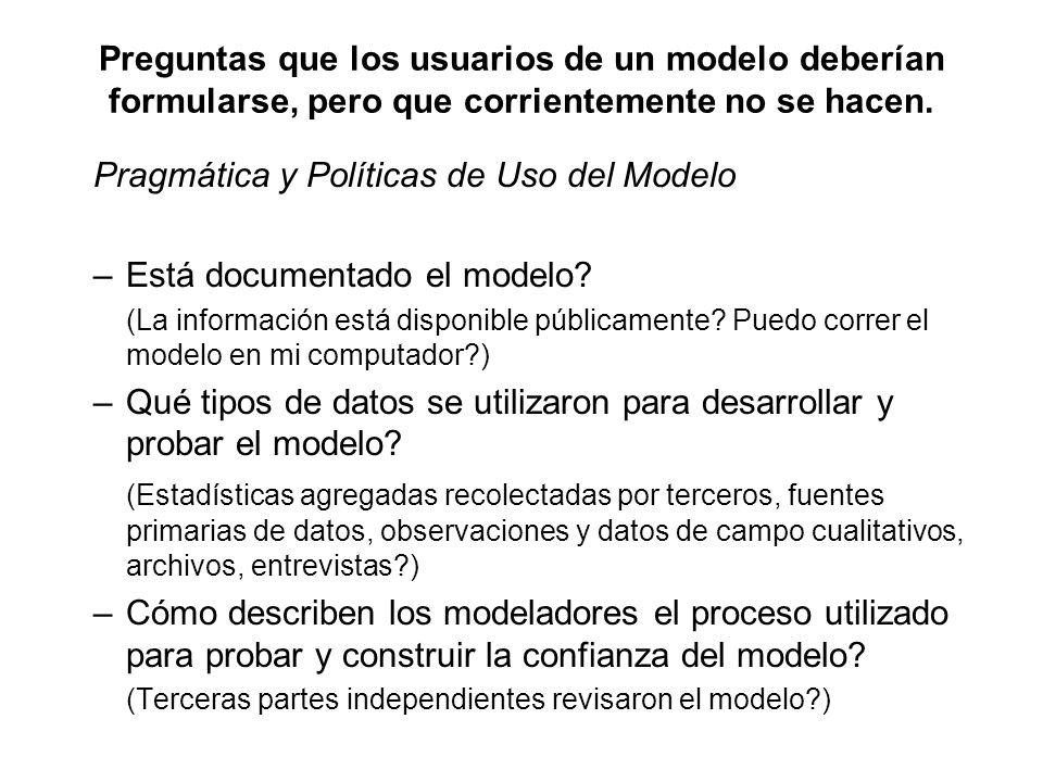 Preguntas que los usuarios de un modelo deberían formularse, pero que corrientemente no se hacen. Pragmática y Políticas de Uso del Modelo –Está docum