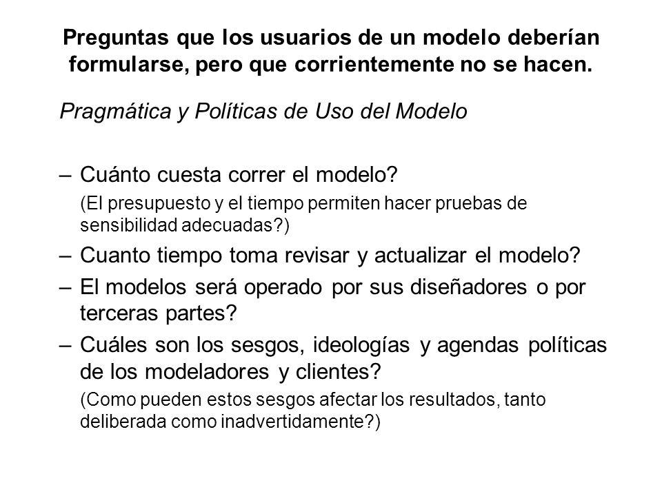 Preguntas que los usuarios de un modelo deberían formularse, pero que corrientemente no se hacen. Pragmática y Políticas de Uso del Modelo –Cuánto cue