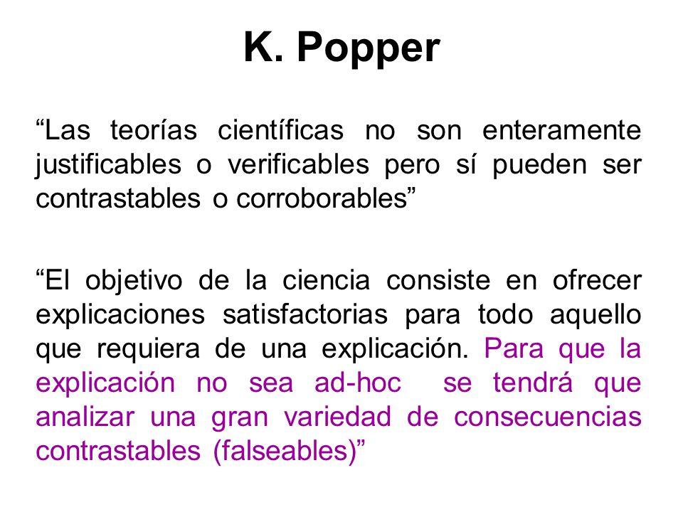 K. Popper Las teorías científicas no son enteramente justificables o verificables pero sí pueden ser contrastables o corroborables El objetivo de la c