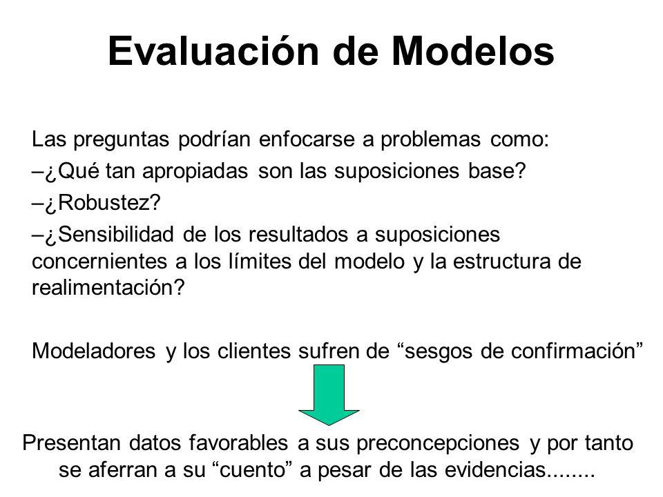 Evaluación de Modelos Las preguntas podrían enfocarse a problemas como: –¿Qué tan apropiadas son las suposiciones base? –¿Robustez? –¿Sensibilidad de