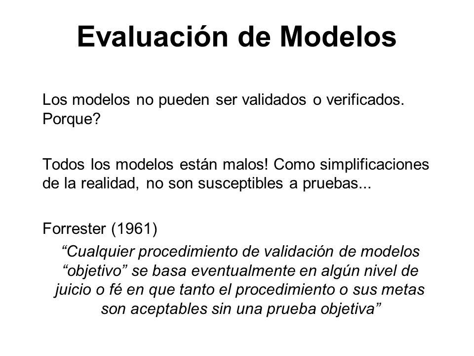 Evaluación de Modelos Los modelos no pueden ser validados o verificados. Porque? Todos los modelos están malos! Como simplificaciones de la realidad,