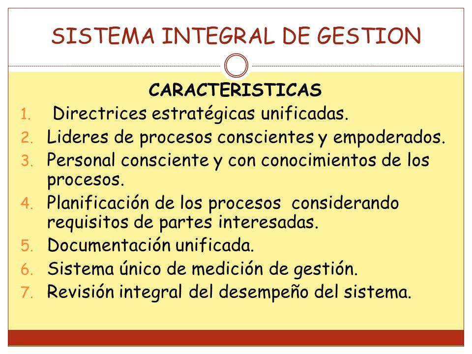 CARACTERISTICAS 1.Directrices estratégicas unificadas.