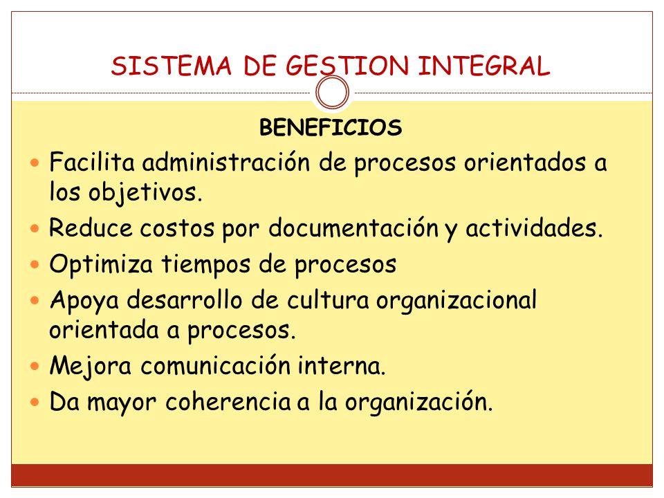BENEFICIOS Facilita administración de procesos orientados a los objetivos. Reduce costos por documentación y actividades. Optimiza tiempos de procesos