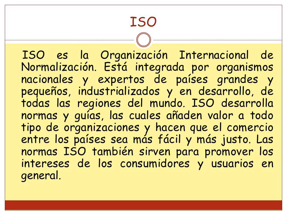 ISO ISO es la Organización Internacional de Normalización.