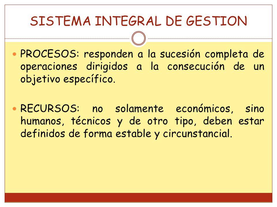 PROCESOS: responden a la sucesión completa de operaciones dirigidos a la consecución de un objetivo específico. RECURSOS: no solamente económicos, sin