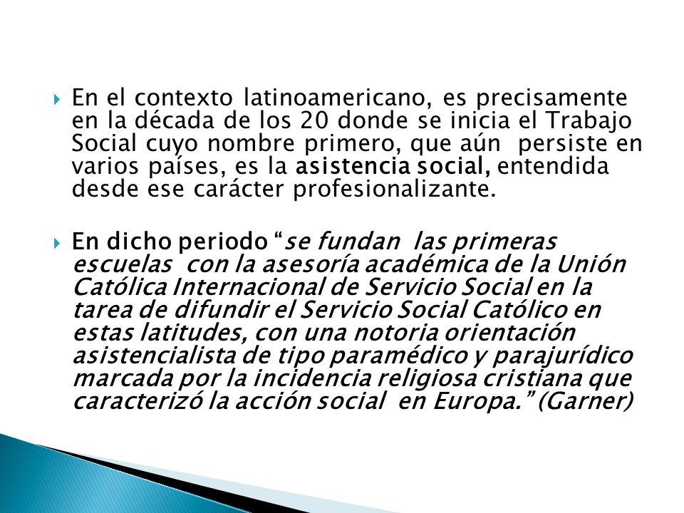 Trabajo Social en Colombia surge en 1936 bajo el periodo presidencial de Alfonso López Pumarejo como respuesta a las expectativas del desarrollo social implementado en la política social de gobierno, concentrado en la Revolución en marcha.