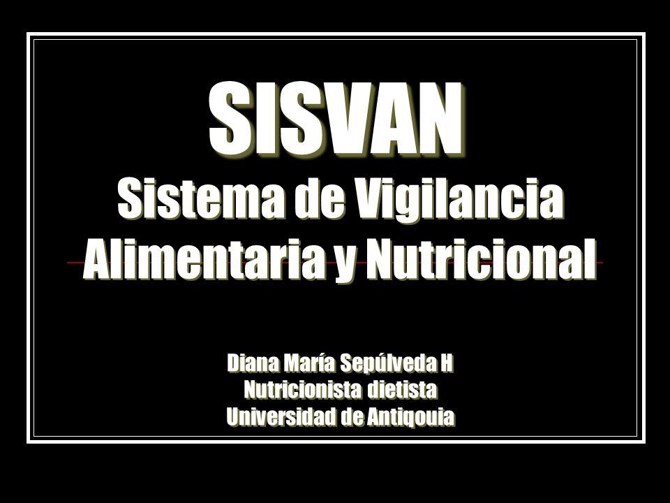 SISVANSISVAN Sistema de Vigilancia Alimentaria y Nutricional Diana María Sepúlveda H Nutricionista dietista Universidad de Antiqouia Sistema de Vigila