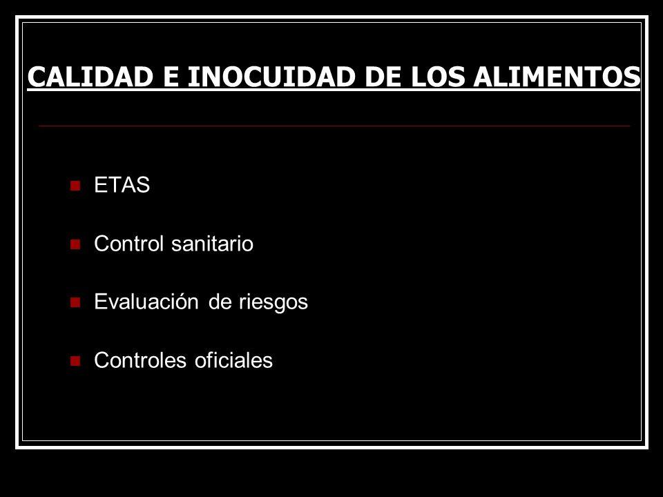 ETAS Control sanitario Evaluación de riesgos Controles oficiales CALIDAD E INOCUIDAD DE LOS ALIMENTOS