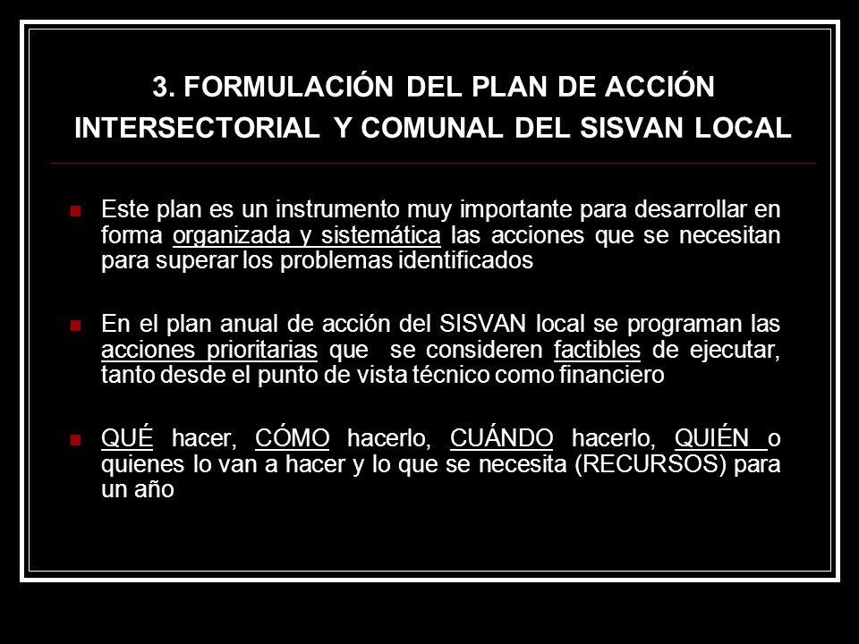 3. FORMULACIÓN DEL PLAN DE ACCIÓN INTERSECTORIAL Y COMUNAL DEL SISVAN LOCAL Este plan es un instrumento muy importante para desarrollar en forma organ