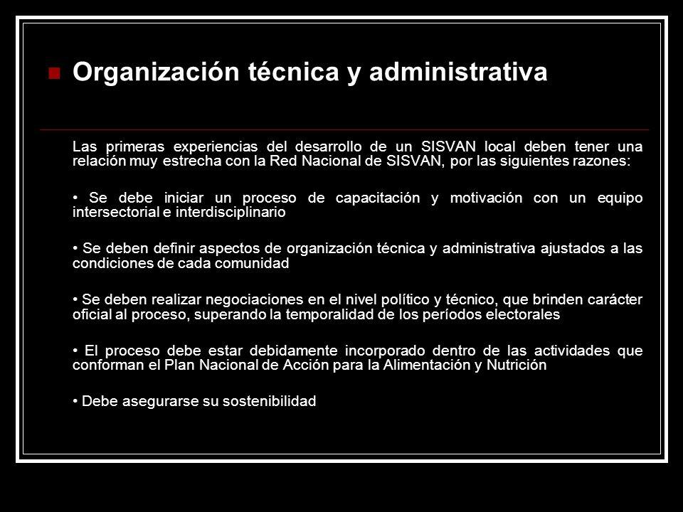Organización técnica y administrativa Las primeras experiencias del desarrollo de un SISVAN local deben tener una relación muy estrecha con la Red Nac