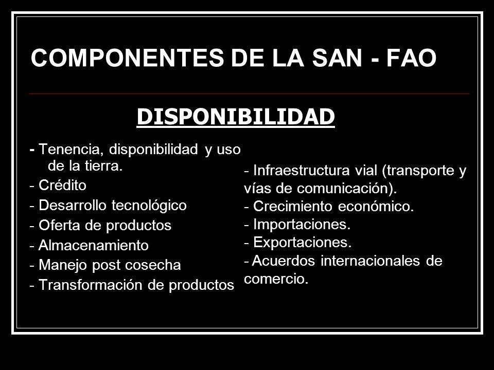 COMPONENTES DE LA SAN - FAO - Tenencia, disponibilidad y uso de la tierra. - Crédito - Desarrollo tecnológico - Oferta de productos - Almacenamiento -