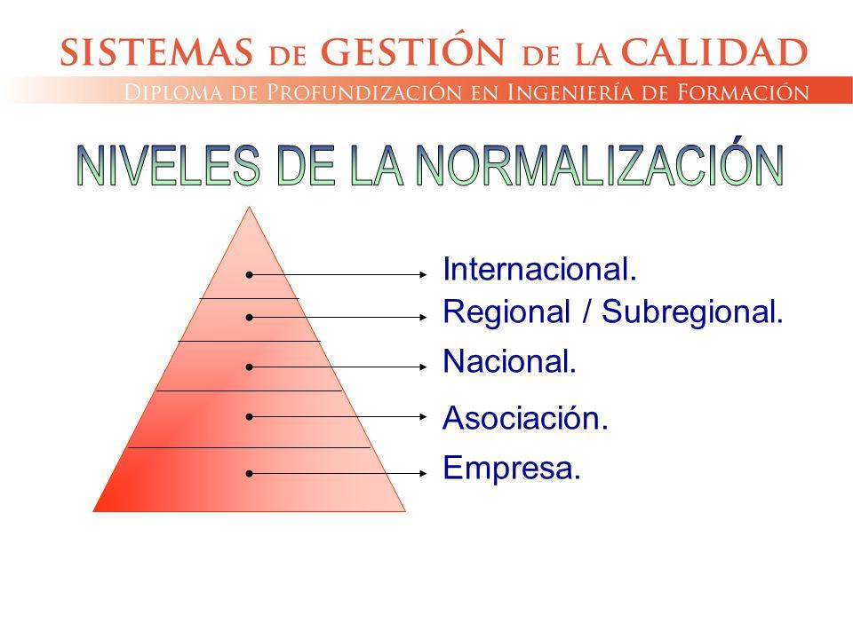 Internacional. Regional / Subregional. Nacional. Asociación. Empresa.