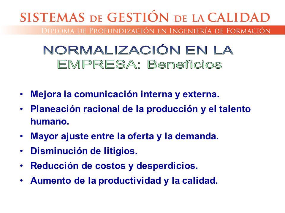 Mejora la comunicación interna y externa. Planeación racional de la producción y el talento humano. Mayor ajuste entre la oferta y la demanda. Disminu