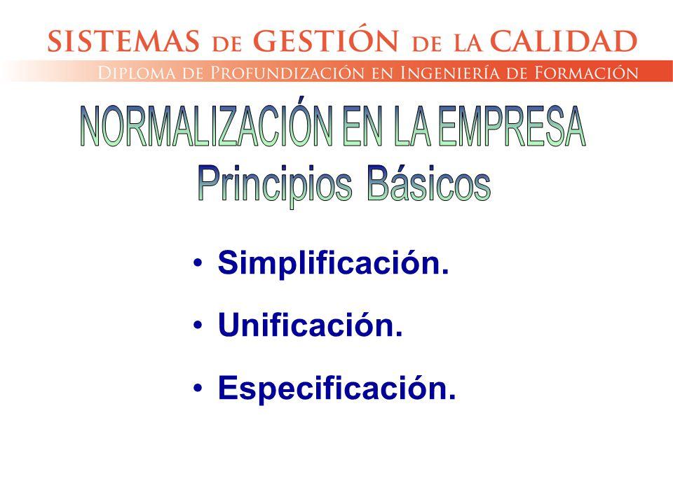 Simplificación. Unificación. Especificación.