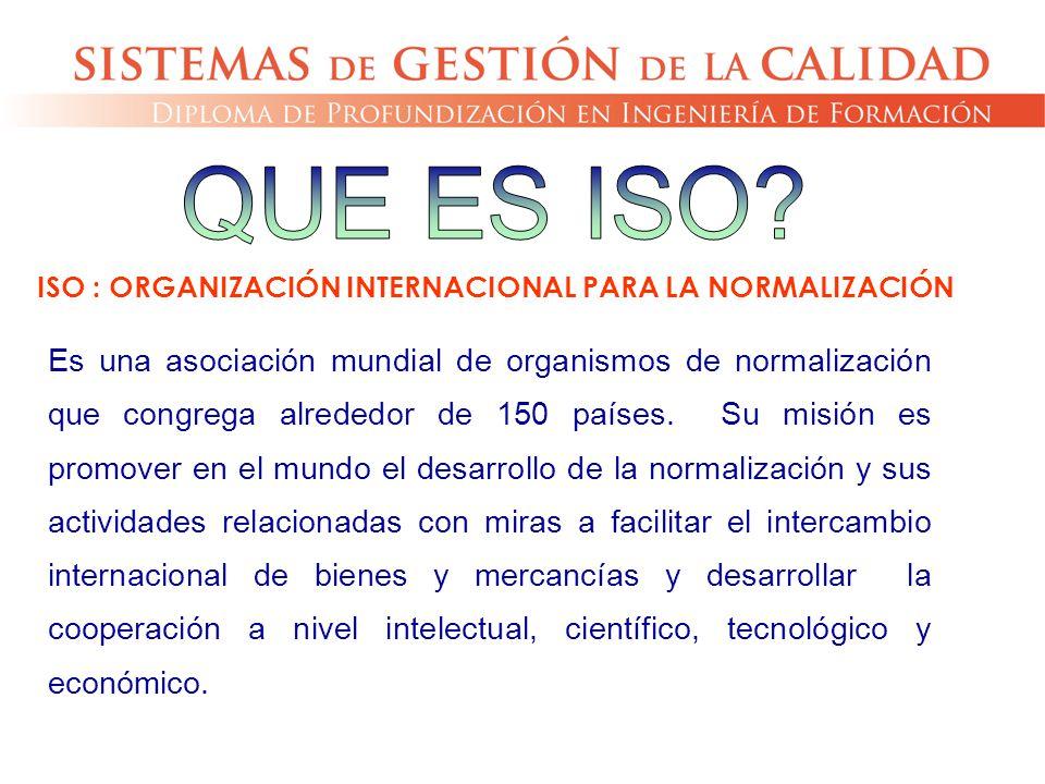 Es una asociación mundial de organismos de normalización que congrega alrededor de 150 países. Su misión es promover en el mundo el desarrollo de la n
