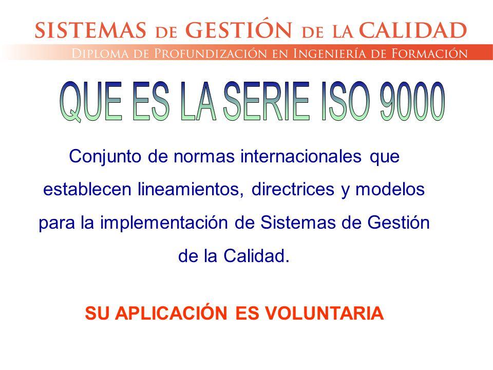 Conjunto de normas internacionales que establecen lineamientos, directrices y modelos para la implementación de Sistemas de Gestión de la Calidad. SU