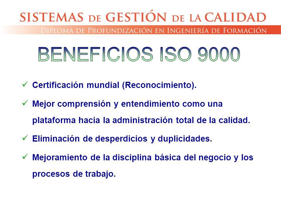 Certificación mundial (Reconocimiento). Mejor comprensión y entendimiento como una plataforma hacia la administración total de la calidad. Eliminación