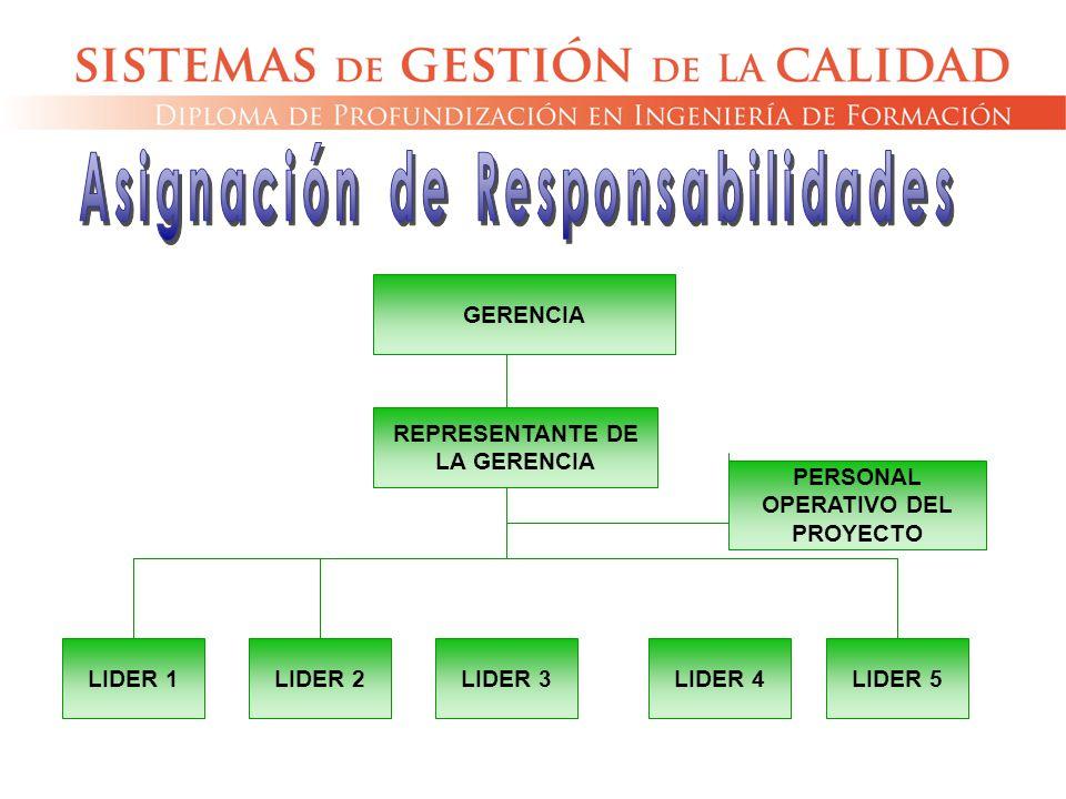 GERENCIA REPRESENTANTE DE LA GERENCIA LIDER 1LIDER 2LIDER 3LIDER 4LIDER 5 PERSONAL OPERATIVO DEL PROYECTO