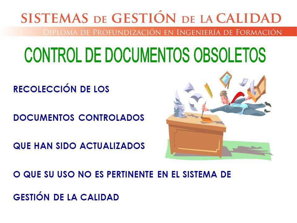 RECOLECCIÓN DE LOS DOCUMENTOS CONTROLADOS QUE HAN SIDO ACTUALIZADOS O QUE SU USO NO ES PERTINENTE EN EL SISTEMA DE GESTIÓN DE LA CALIDAD