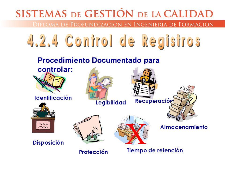 Protección Procedimiento Documentado para controlar: Identificación Legibilidad Almacenamiento Disposición Recuperación Tiempo de retención X