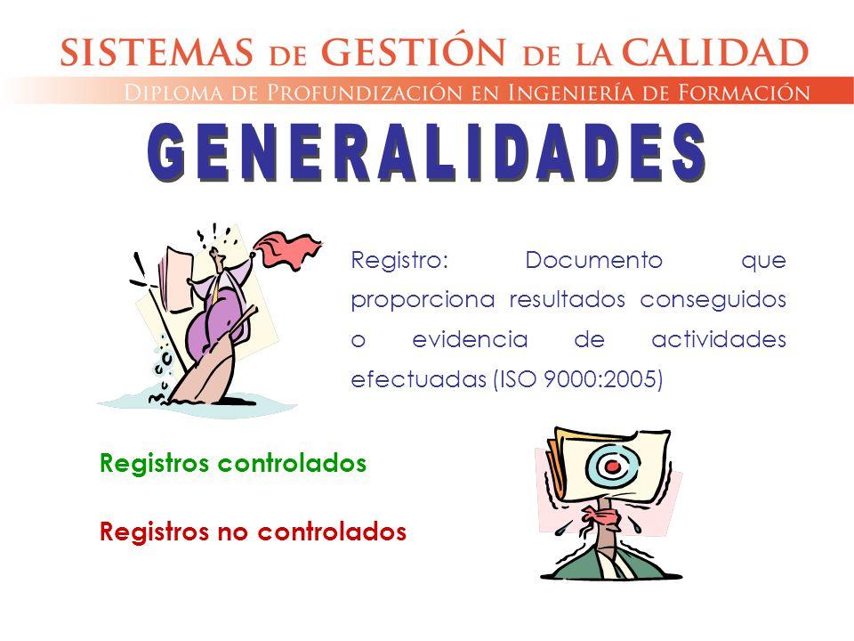 Registro: Documento que proporciona resultados conseguidos o evidencia de actividades efectuadas (ISO 9000:2005) Registros controlados Registros no co