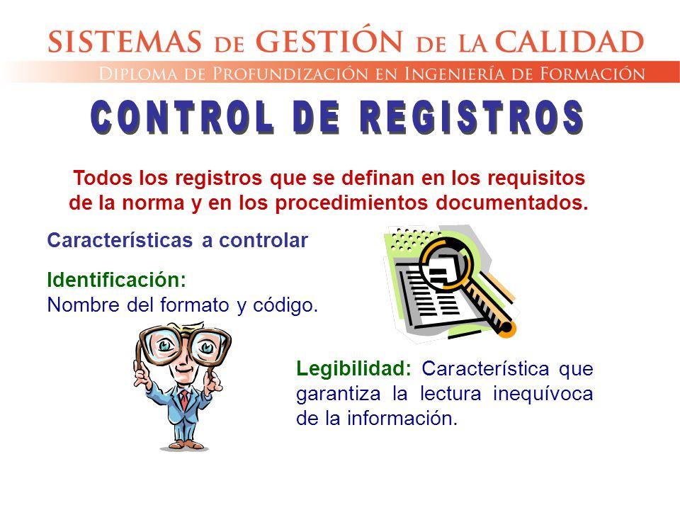 Todos los registros que se definan en los requisitos de la norma y en los procedimientos documentados. Identificación: Nombre del formato y código. Ca