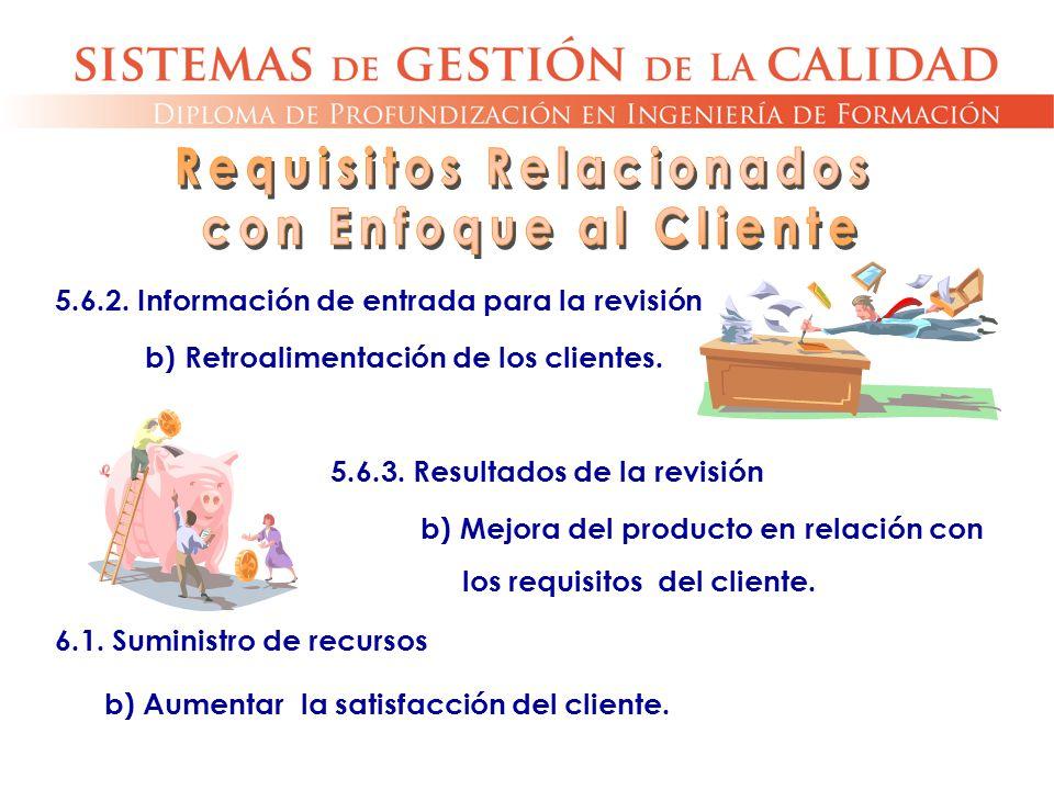 5.6.2. Información de entrada para la revisión b) Retroalimentación de los clientes. 6.1. Suministro de recursos b) Aumentar la satisfacción del clien