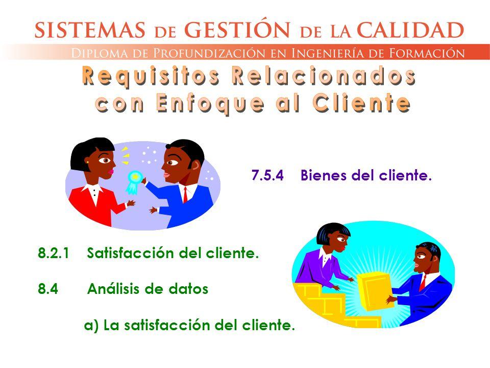 7.5.4Bienes del cliente. 8.2.1Satisfacción del cliente. 8.4Análisis de datos a) La satisfacción del cliente.