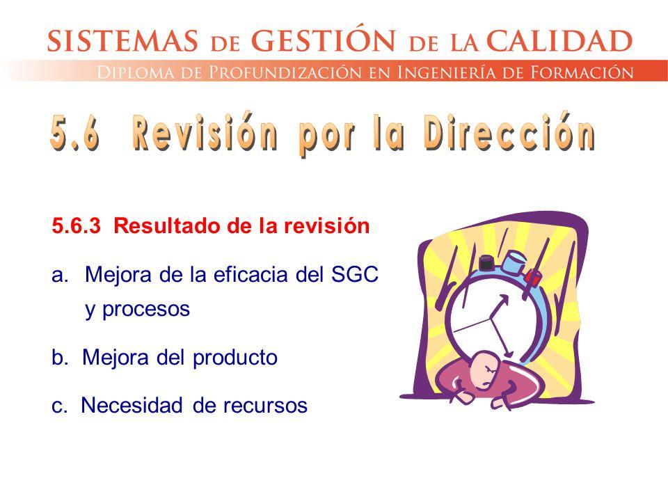 5.6.3 Resultado de la revisión a.Mejora de la eficacia del SGC y procesos b. Mejora del producto c. Necesidad de recursos