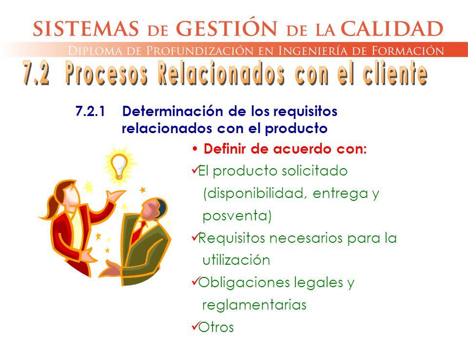 Definir de acuerdo con: El producto solicitado (disponibilidad, entrega y posventa) Requisitos necesarios para la utilización Obligaciones legales y r