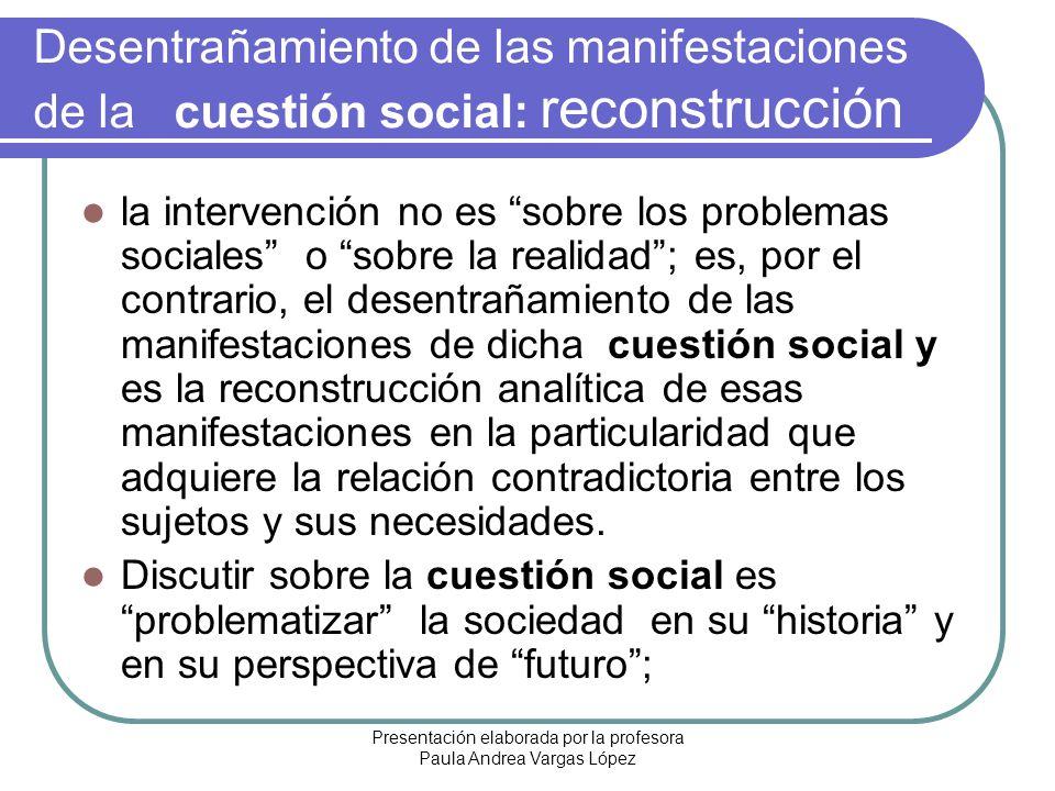 Presentación elaborada por la profesora Paula Andrea Vargas López Desentrañamiento de las manifestaciones de la cuestión social: reconstrucción la int