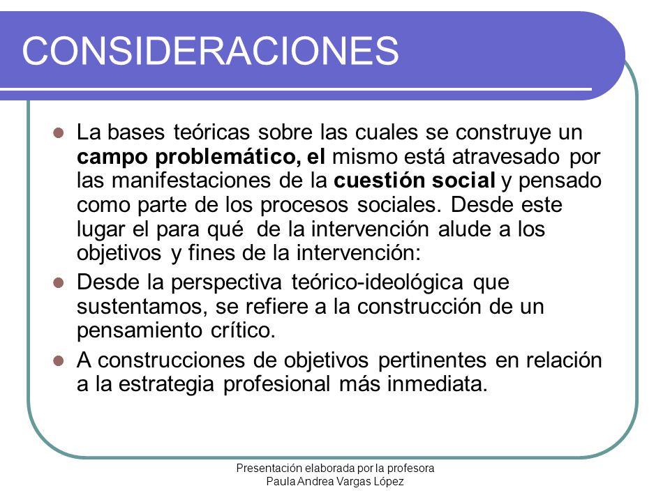Presentación elaborada por la profesora Paula Andrea Vargas López CONSIDERACIONES La bases teóricas sobre las cuales se construye un campo problemátic