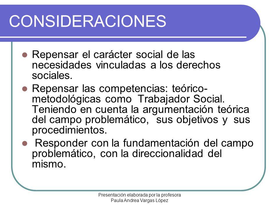 Presentación elaborada por la profesora Paula Andrea Vargas López CONSIDERACIONES Repensar el carácter social de las necesidades vinculadas a los dere