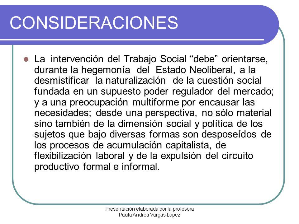 Presentación elaborada por la profesora Paula Andrea Vargas López CONSIDERACIONES La intervención del Trabajo Social debe orientarse, durante la hegem