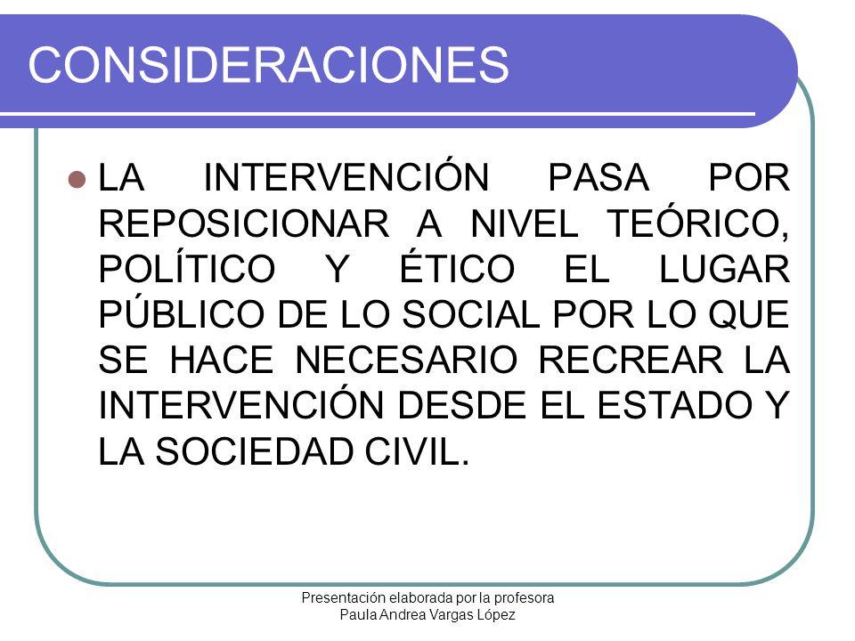 Presentación elaborada por la profesora Paula Andrea Vargas López CONSIDERACIONES LA INTERVENCIÓN PASA POR REPOSICIONAR A NIVEL TEÓRICO, POLÍTICO Y ÉT