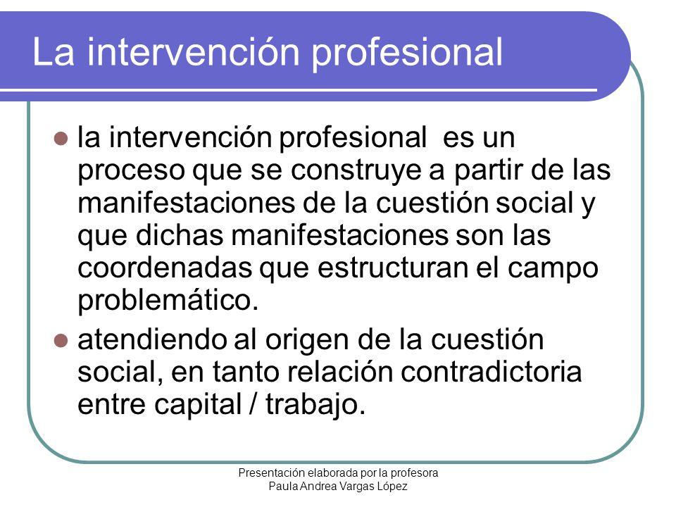 Presentación elaborada por la profesora Paula Andrea Vargas López La intervención profesional la intervención profesional es un proceso que se constru