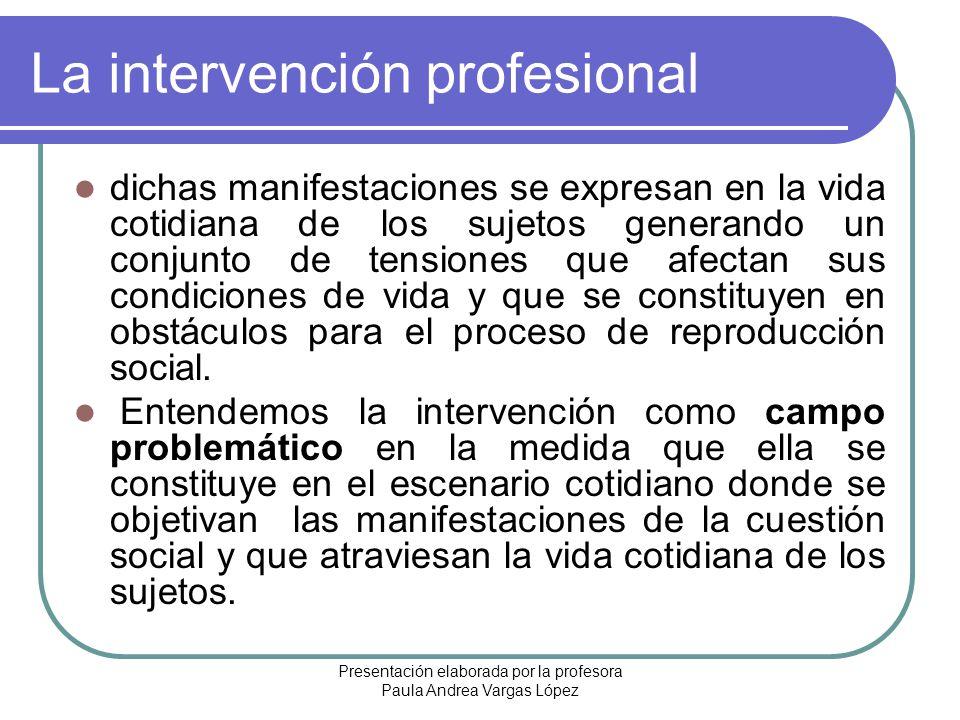 Presentación elaborada por la profesora Paula Andrea Vargas López La intervención profesional dichas manifestaciones se expresan en la vida cotidiana