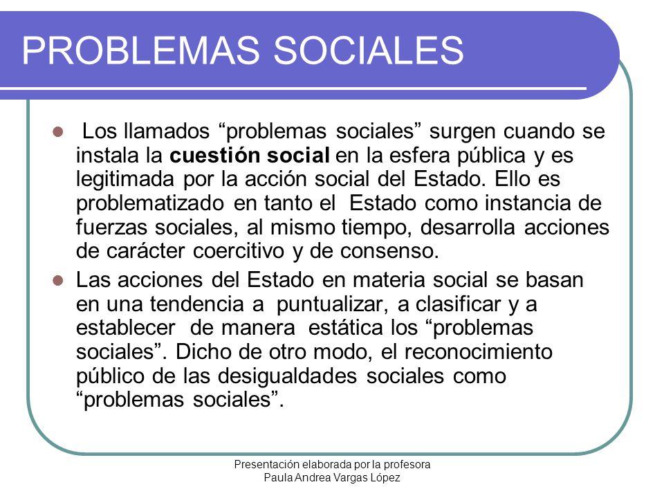 Presentación elaborada por la profesora Paula Andrea Vargas López PROBLEMAS SOCIALES Los llamados problemas sociales surgen cuando se instala la cuest