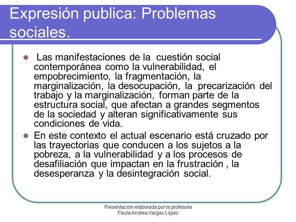 Presentación elaborada por la profesora Paula Andrea Vargas López Expresión publica: Problemas sociales. Las manifestaciones de la cuestión social con