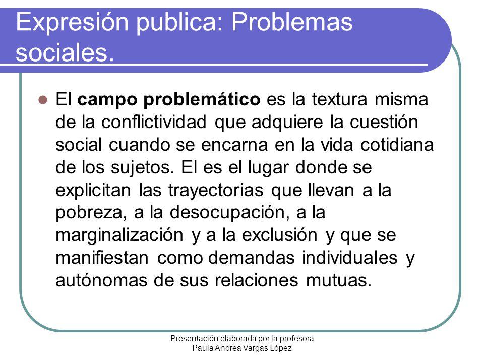 Presentación elaborada por la profesora Paula Andrea Vargas López Expresión publica: Problemas sociales. El campo problemático es la textura misma de