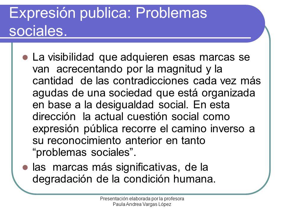 Presentación elaborada por la profesora Paula Andrea Vargas López Expresión publica: Problemas sociales. La visibilidad que adquieren esas marcas se v