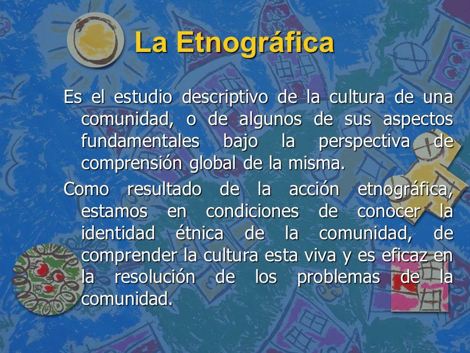 La Etnográfica Es el estudio descriptivo de la cultura de una comunidad, o de algunos de sus aspectos fundamentales bajo la perspectiva de comprensión